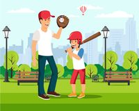 Happy cartoon father plays baseball with son royalty free illustration