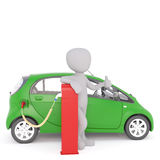 Happy Cartoon Figure Recharging Electric Car. Generic Gray 3d Cartoon Figure Giving Thumbs Up While Recharging Environmentally Friendly Electric Car Vehicle at Royalty Free Stock Photography