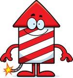 Happy Cartoon Firework. A cartoon illustration of a firework rocket looking happy Stock Photography