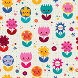 Happy cartoon flowers nature seamless pattern Stock Photo