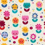 Happy cartoon flowers nature seamless pattern