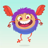 Happy cartoon flying monster. Halloween vector fluffy purple monster. Royalty Free Stock Photography