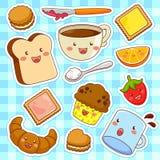 Happy cartoon foods. Cute kawaii style cartoon foods Stock Photos
