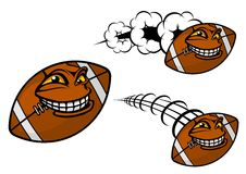 Happy cartoon football or rugby ball Royalty Free Stock Images