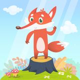 Happy cartoon fox character. Vector illustration of fox isolated on colorful forest background vector illustration