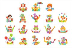 Happy cartoon friendly clowns character colorful vector Illustrations. On a white background stock illustration