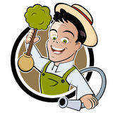 Happy cartoon gardener Stock Photo