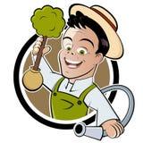 Happy cartoon gardener Stock Photo