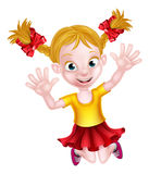 Happy Cartoon Girl Jumping Royalty Free Stock Images