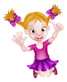 Happy Cartoon Girl Jumping Stock Images