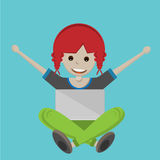 Happy cartoon girl with Laptop Royalty Free Stock Images