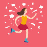 Happy cartoon girl riding on roller-skates. Including decorative elements such as clouds, stars, splash, birds. Childish illustration for your design Royalty Free Stock Images