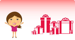Happy girl invites for gifts Royalty Free Stock Photo