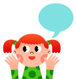Happy cartoon girl with speach bubble Stock Photos