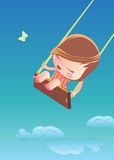 Happy cartoon girl swinging Stock Images