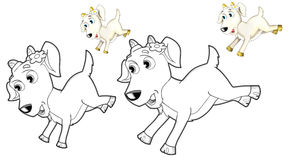 The happy cartoon goat - caricature - coloring page Stock Photo