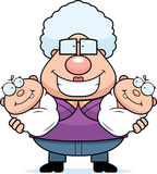 Happy Cartoon Grandma with Twins Stock Image