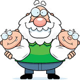 Happy Cartoon Grandpa with Twins Royalty Free Stock Image