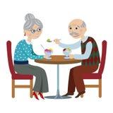 Happy cartoon grandparents stock illustration