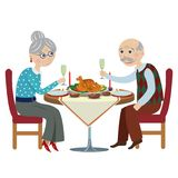Happy cartoon grandparents at a festive table. Happy grandfather with a grandmother at a Christmas table Stock Image