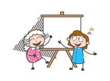 Happy Cartoon Granny with Kid and Canvas Board Vector Illustration Royalty Free Stock Photo