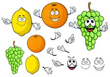 Happy cartoon grape, lemon and orange fruits Stock Images