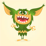 Happy cartoon gremlin monster. Halloween vector goblin or troll with green fur and big ears Royalty Free Stock Images