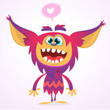 Happy cartoon gremlin monster in love. Halloween vector goblin or troll with pink fur and big ears. Isolated Stock Photos