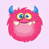 Happy cartoon hairy monster. Vector Halloween pink furry monster. Stock Photos