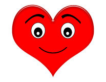 Happy Cartoon Heart. Smiling red heart illustration isolated on white royalty free illustration