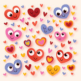 Happy cartoon hearts Royalty Free Stock Photography