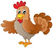 Happy cartoon hen Royalty Free Stock Photography