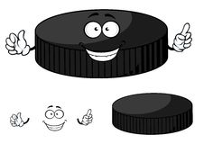 Happy cartoon hockey puck waving its hands Stock Photo