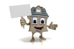 Happy cartoon house character holds a blank sign Stock Photos