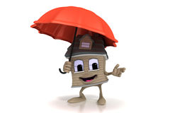 Happy cartoon house holding an umbrella Stock Photos