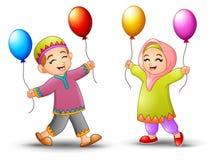 Happy cartoon kid holding balloon to celebrate eid mubarak. Illustration of Happy cartoon kid holding balloon to celebrate eid mubarak Royalty Free Stock Image