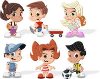 Happy cartoon kids. Group of six cute happy cartoon kids Royalty Free Stock Photos