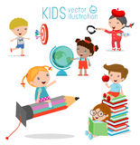 Happy cartoon kids in classroom, education concept, back to school template with kids, Kids go to school Stock Image