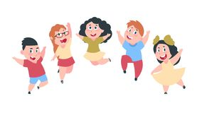 Happy cartoon kids. Cute boy and girl children, group of school students, kids friendship concept. Vector isolated. Smile jumping children vector illustration