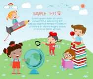 Happy cartoon kids with education concept, back to school template  Stock Photo