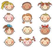 Happy cartoon kids faces stock illustration