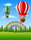 Happy cartoon kids flying in a hot air balloon Stock Photos