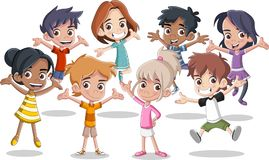 Happy cartoon kids jumping. Group of happy cartoon kids jumping vector illustration