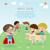 Happy cartoon kids, Kids playing , kid playing and lifestyle, happy child, vector illustration, kids at playground Stock Photo