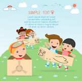 Happy cartoon kids, Kids playing , kid playing and lifestyle, happy child, vector illustration, kids at playground Royalty Free Stock Photo