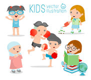 Happy cartoon kids, Kids playing on white background , kid playing and lifestyle. Vector illustration Stock Image