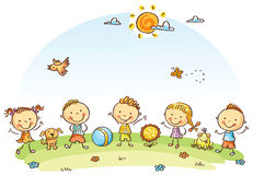 Happy cartoon kids outdoors on a green meadow. Vector vector illustration