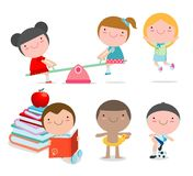 Happy cartoon kids playing, children playing on white background, Vector illustration. stock illustration