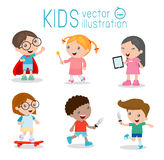 Happy cartoon kids playing, Kids playing on white background , Skating, Superhero kid, tablet Royalty Free Stock Photography