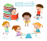 Happy cartoon kids playing,. Kids playing on white background , Vector illustration Royalty Free Stock Images